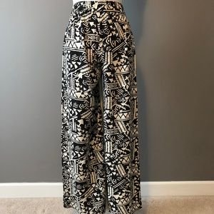 Tribal Patterned High-Waisted, Wide-Leg Pants